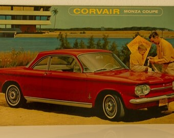 Vintage Old Original advertisement board   Chevrolet   Corvair Monza Coupe 1963  Mancave