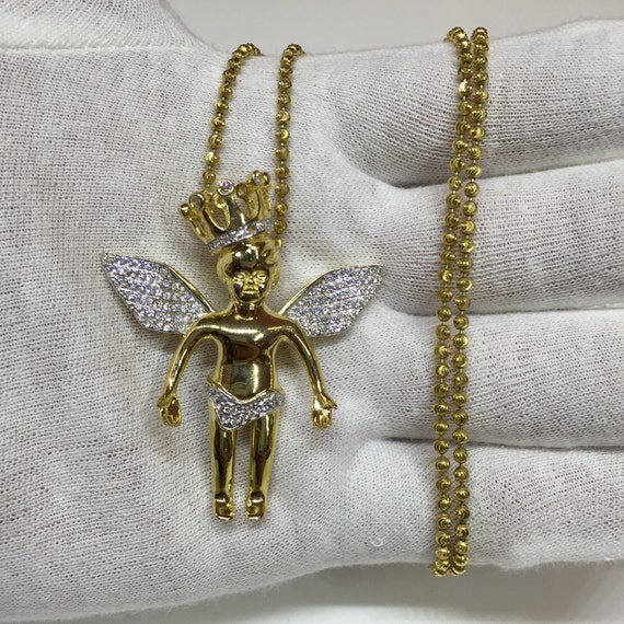 Gold angel with crown hip hop made with lab made by for Custom lab made hip hop jewelry