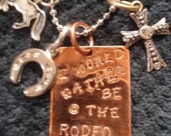 I Would Rather Be At The Rodeo Memory necklace