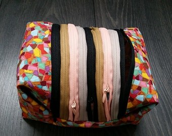 zipper box pouch for make up/travel storage/ pencil and marker case