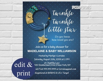 Twinkle Twinkle Baby Shower |Little Star Baby Shower Invitation,Star Baby Shower,Twinkle Little Star Printable Invitation, INSTANT DOWNLOAD