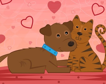 Dog and Cat valentines day valentine vector cartoon love illustration pets download friends