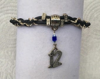 Handmade Men's Seahawks #12 NFL Football glass and Silver beaded Leather in Silver Chain Charm Bracelet Jewelry