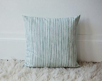 16x16 Aqua Gray & White Striped throw pillow cover Regular Price 24.00 - ON SALE FOR 18.00