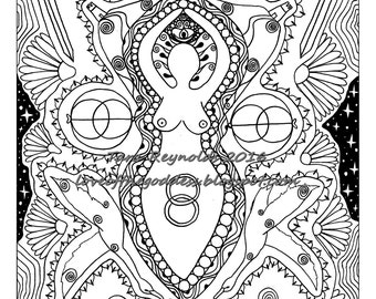 Mandala Coloring Page, Pagan Coloring Page, Goddess Mandala, Avalon Goddess, Goddess Print, Goddess Coloring Page