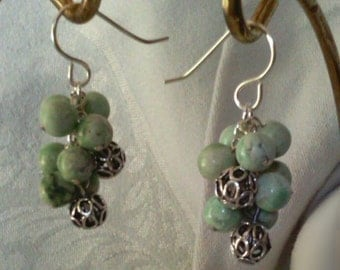 Green Jasper and Silver Cluster Earrings