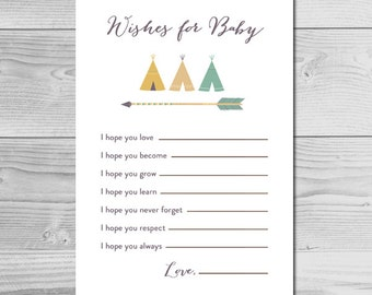 Tribal Baby Shower Activity - Wishes for Baby - Instant Download Printable - Baby Boy