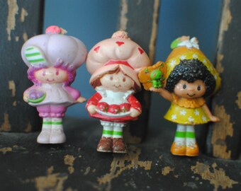 Three Miniature Strawberry Shortcake Dolls vintage from the 80's