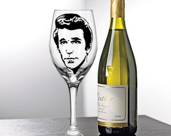 Fonzie, Happy Days, Painted Wine Glasses, Painted Wine Glass, Hand Painted Wine Glasses, Painted Glasses, White Wine, Red Wine, Stemless