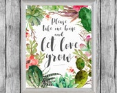 Let Love Grow Sign. Succulent Favors Sign 8x10, Digital File, Instant Download. Succulent Wedding Favors Sign. Bridal Shower Favors.