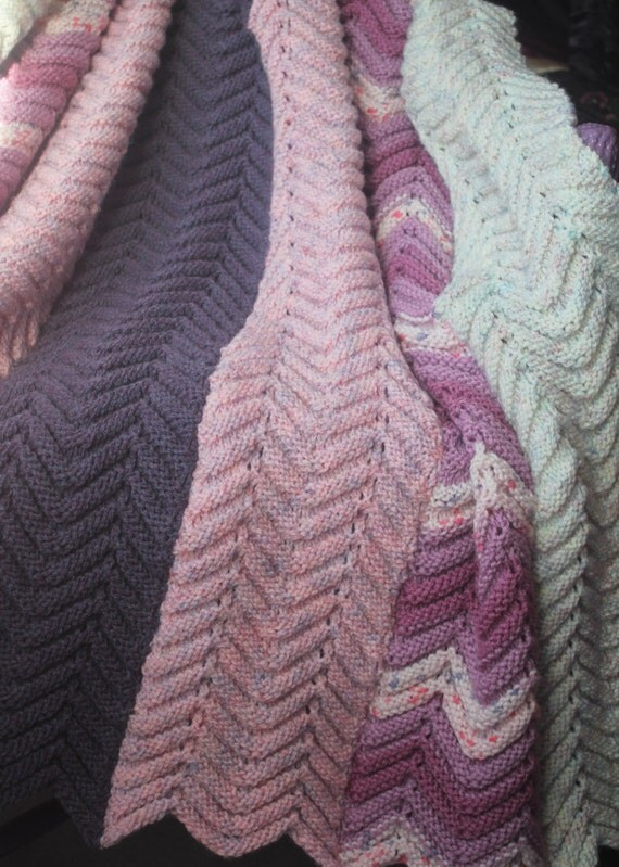 Gorgeous Hand Knitted Ripple Afghan
