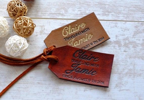 Luggage Tag - Personalized Anniversary Gift Set - Custom Wedding Gift ...