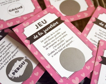 25 cartes à gratter jeux de la jarretiere mariage jeu pour les convives avec ce jeu revisité drôle et sympa motif coeurs grattage