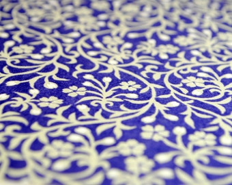 Handmade origami paper - White petals on violet