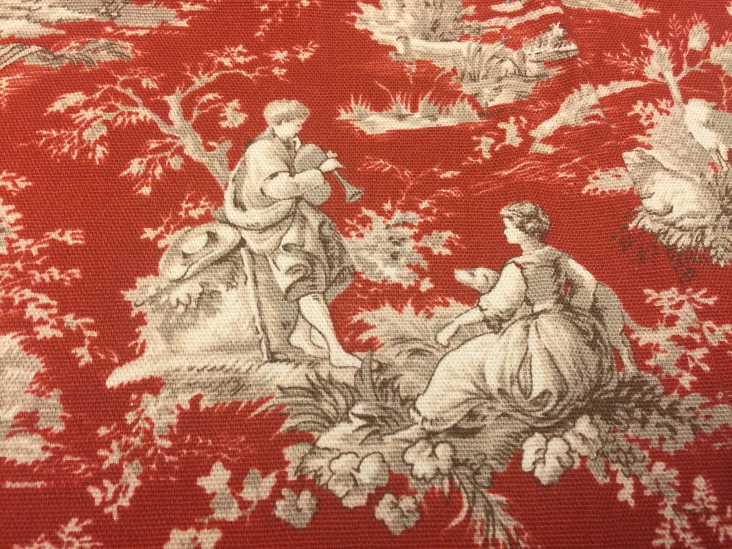Red Toile Upholstery Fabric Toile Fabric Red Home Decor
