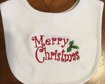 Baby Boy or Girl Merry Christmas  Embroidery Bib
