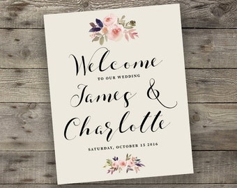 Floral Wedding Welcome Sign Printable Boho Chic Welcome Sign Bohemian Wedding Greeting Digital File Modern Typography
