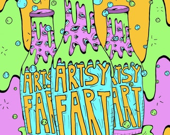 """Fart Party 17""""x11"""" Giclee Print"""
