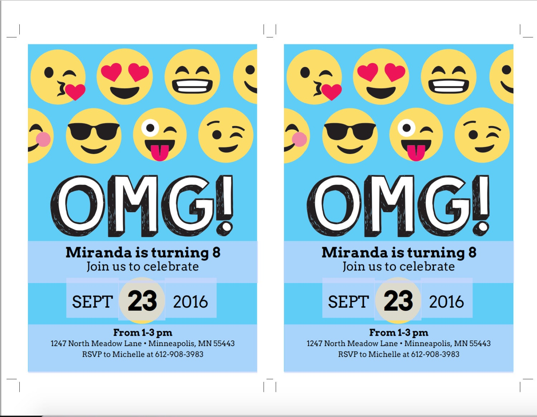 Emoji Birthday Invitation Template Blue Emoji Birthday Party – Birthday Party Invitation Template