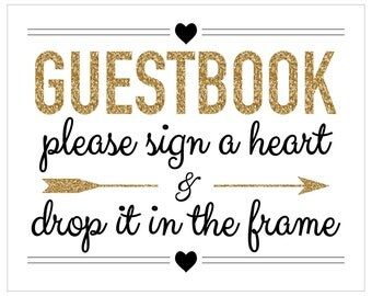 CUSTOMIZABLE Drop Heart Guest Book Sign-in Sign