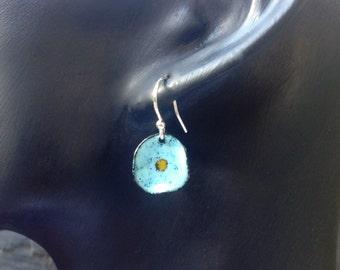 Forget Me Not Flower Earrings. Enamel Blue Earrings, Flower Drop Earrings