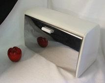 Vintage White Bread Box,  Bread Box, Hinged BreadBox, Kitchen Storage, White and Chrome Box, Farberware Bread Box, Retro House Ware, MCM Box