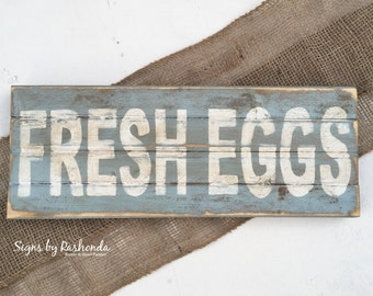 Wooden Kitchen sign, Rustic kitchen sign, Fresh Eggs Sign, Farmhouse sign, vintage sign, Wood signs for kitchen, Blue kitchen sign