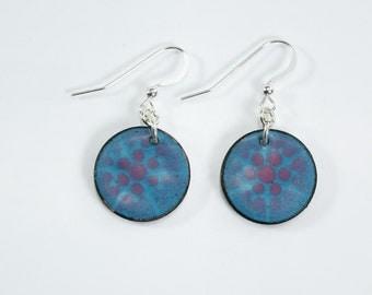 Silver Filled Earring Metal Enamel Copper Penny Earrings Metal Blue and Raspberry Colored Earrings