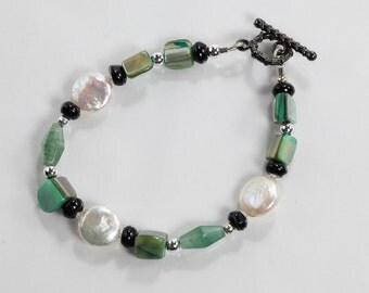 Genuine Coin Fresh Water Pearl, Black Onyx, Aventurine, Shell Beaded Bracelet