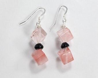 Pink and Black Earrings, Gemstone and Black Onyx Earrings