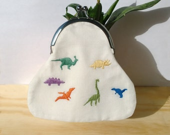 Embroidery Purse DINOSAUR Cotton coin Purse Frame purse 90s style