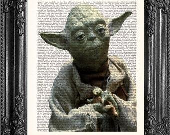 Christmas Gift Yoda  Star Wars Print  Star Wars Art  OFFICE Decor  Dorm