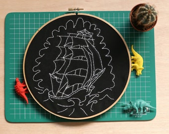 Hand embroidered sailing ship hoop