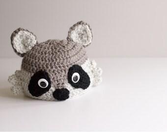READY TO SHIP Baby Raccoon Hat, Newborn Crochet Woodland Animal Hat, Infant Trash Panda Character Hat Costume, Halloween Hat, Photo Prop