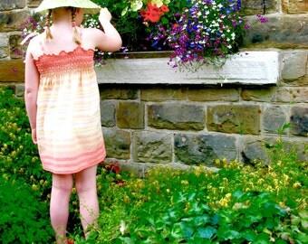 Bespoke girls sundress, custom girls dress, girls summer dress, bespoke girls shirred dress, bespoke toddler sundress