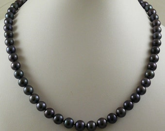 Freshwater Black Round Pearl 8.0 - 8.3mm Necklace 14k White Gold 19 inches Long