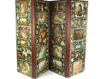 Antique privacy screen room divider decoupage Victorian folding dressing 19th c