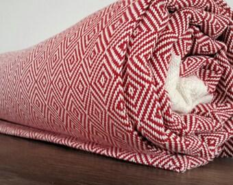 Red Cotton blanket - Diamonds Blanket throw - Woven Cotton Blanket - Large Picnic Blanket  - Coverlet -  80x95 inches ( 200x240 cm )
