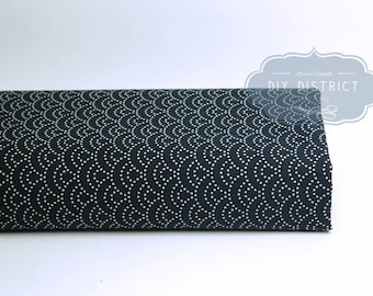 Navy Blue Japanese seigaiha dotted motif fabric