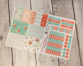 Sky and Cream Shabby Chic Planner Stickers - Made to fit Vertical Layout