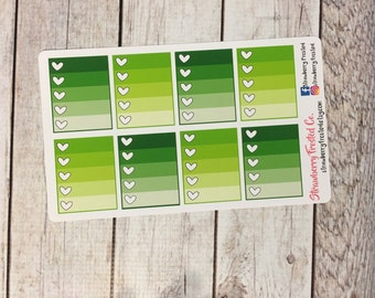 Greens Monthly Ombre Checklist Planner Stickers   Horizontals