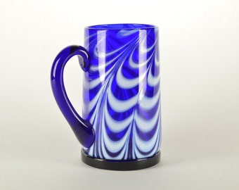Hand Blown Glass Mug Blue and White
