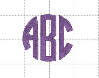 Tiny Circle Monogram Font for Embroidery Machine  1.5 inch and 2 inch sizes. Multiple formats.