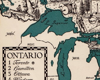 Pictorial ONTARIO Canada Map of Ontario Canada 1940s Pictorial Map Reprint Travel Map Gallery Wall Art Home Decor