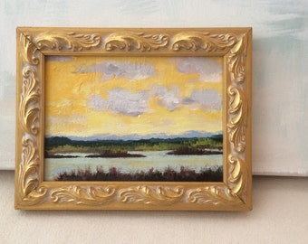 5x7 Original Acrylic Marsh Painting in Frame