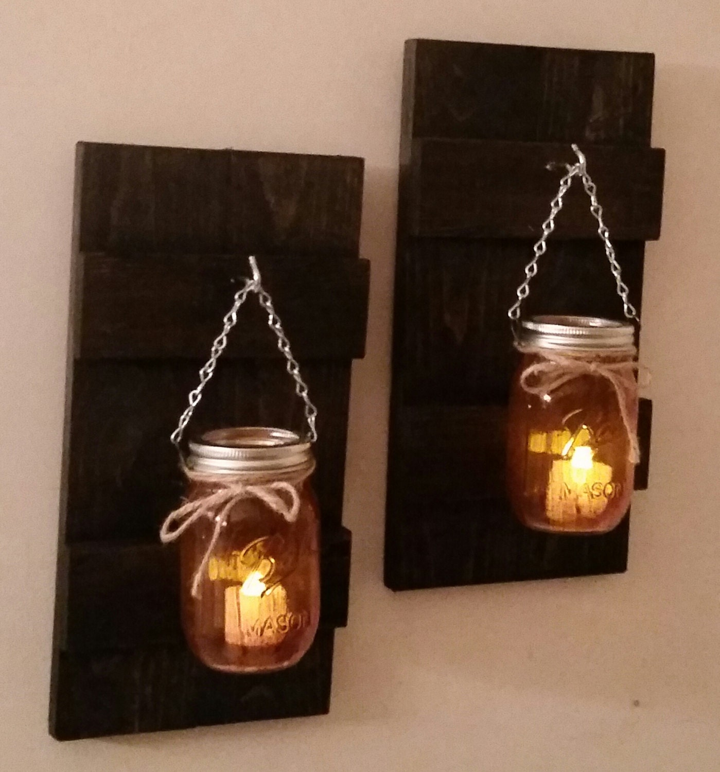 Rustic Wall Sconce With Ball Mason Jar And Battery Candle