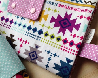 Bright Aztec Print Nappy Clutch/ Nappy Purse/ Baby Change Wallet/ Diaper Wallet