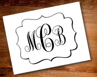 Custom Monogram Notecards -Personalized Notecards -Folded Note cards -Notecards -Custom Notecards -Monogrammed Note Cards -Monogrammed cards