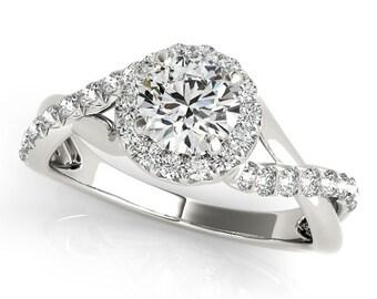 Flower Diamond Engagement Ring, Twist Diamond Engagement Ring, Intertwine Moissanite Engagement Ring, Infinity Diamond Engagement RIng