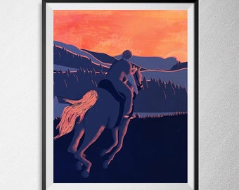 Horse Sunset, Minimal minimalist art, Illustration, landscape art, fine art, horse picture.